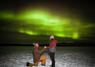 Proposal under northern lights at Sundog Retreat